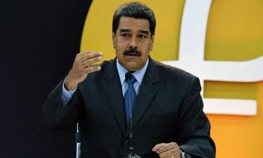 Presidente da Venezuela, Nicolás Maduro,faz discurso em 20 de fevereiro no Palácio de Miraflores Foto: FEDERICO PARRA / AFP