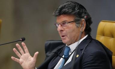 O ministro Luiz Fux participa de sessão do Supremo Foto: Rosinei Coutinho/STF