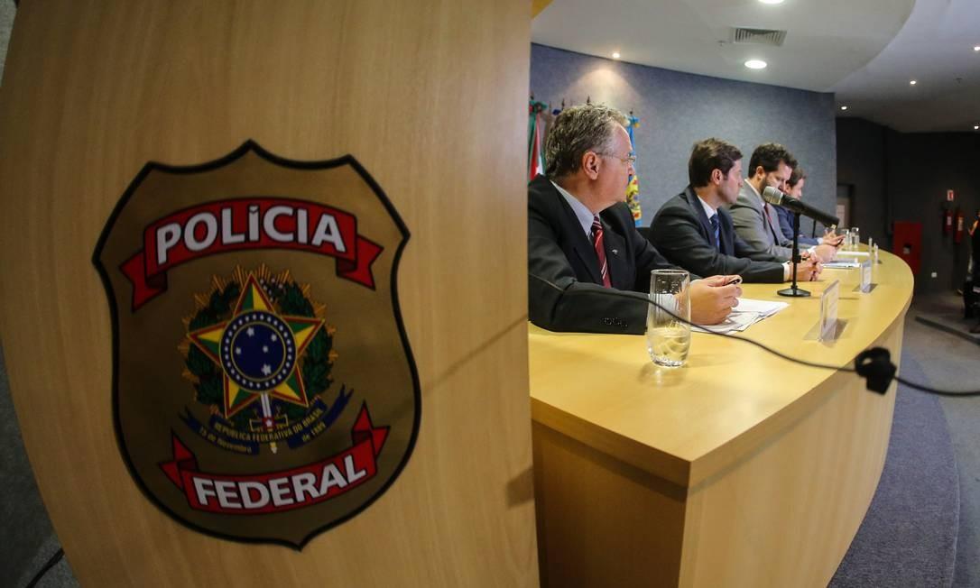 Coletiva de Imprensa da 48ª Operação da Lava Jato, denominada Operação Integração, na Sede da Superintendência da Policia Federal em Curitiba Foto: Geraldo Bubniak / AGB / Agência O Globo