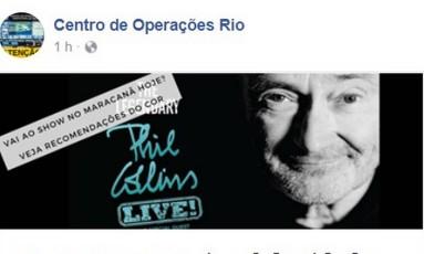 Centro de Operações do Rio recomenda que público se informe sobre chuva forte Foto: Reprodução / Facebook