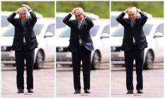 O presidente Michel Temer ajeita o cabelo antes de reunião do Conselho Militar de Defesa Foto: Montagem sobre fotos de Jorge William