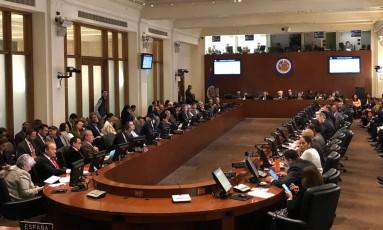 Reunião da OEA em que resolução foi aprovada em Washington Foto: Henrique Gomes Batista