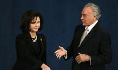 A procuradora-geral Raquel Dodge e o presidente Michel Temer Foto: Ailton de Freitas / Agência O Globo/18-9-17