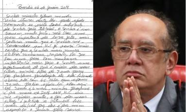 Rosa Pereira da Conceição escreveu carta ao ministro do Supremo Tribunal Federal (STF) Gilmar Mendes, pedindo que lhe concedesse um habeas corpus Foto: Ailton de Freitas (direita) / STF (esquerda) e Agência O Globo (direita)