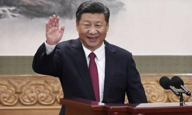 Com proposta do partido comunista, o presidente chinês Xi Jinping permaneceria no cargo mesmo após o fim de seu mandato Foto: WANG ZHAO / AFP