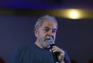 O ex-presidente Lula discursa na comemoração do aniversário do PT Foto: Edilson Dantas/Agência O Globo/22-02-2018