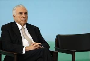 O presidente Michel Temer participa de cerimônia no Palácio do Planalto Foto: Jorge William / Agência O Globo