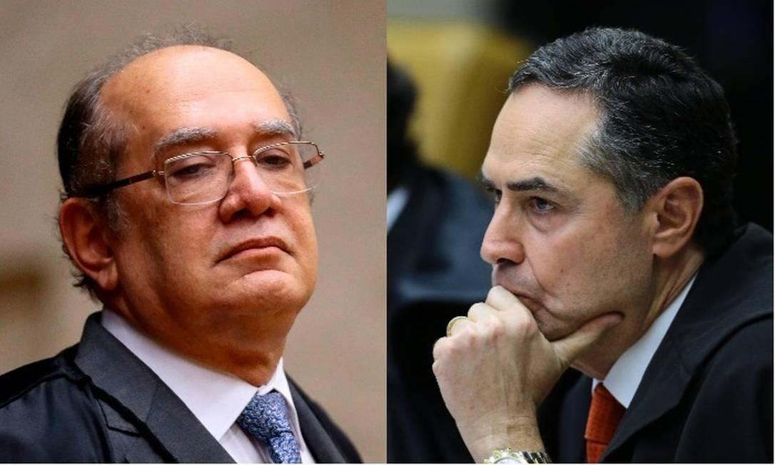 Os minitros Gilmar Mendes e Luís Roberto Barroso, do Supremo Tribunal Federal Foto: Montagem sobre fotos de Jorge William