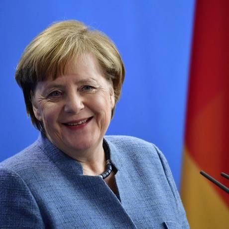 Angela Merkel em coletiva de imprensa em Berlim Foto: TOBIAS SCHWARZ / AFP