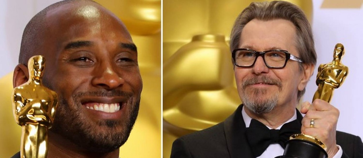 Kobe Bryant e Gary Oldman com suas estatuetas do Oscar Foto: MIKE BLAKE / REUTERS