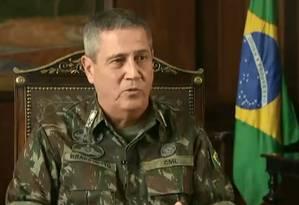 General Braga Netto em entrevista à TV Globo Foto: Reprodução