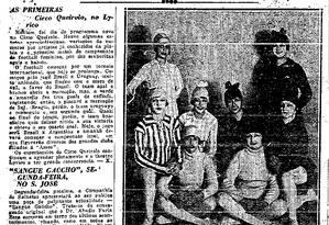 Na seção O GLOBO nos Theatros: football de mulheres do Circo Queirolo, no Teatro Lyrico Foto: Reprodução