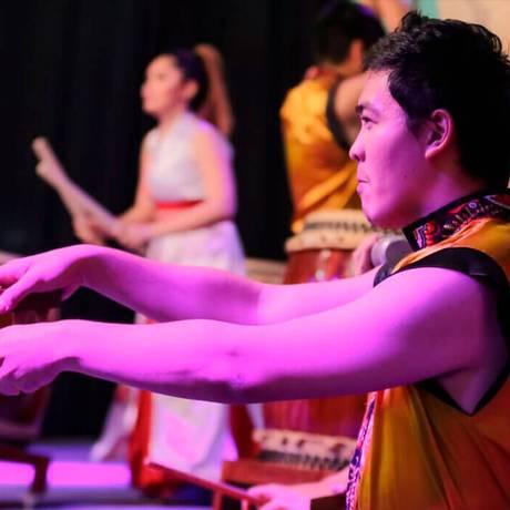 o grupo Wakadaiko, de taiko (um tambor típico). Foto: Divulgação