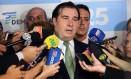 O presidente da Câmara, Rodrigo Maia (DEM-RJ), após lançar sua pré-candidatura à presidência Foto: Cleia Viana/Câmara dos Deputados