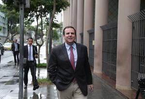 O ex-prefeito Eduardo Paes depõe como testemunha na Operação Lava-Jato Foto: Márcio Alves / Agência O Globo