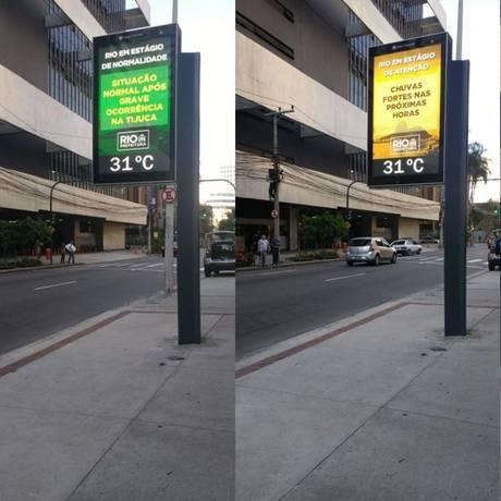 Prefeitura do Rio passa a informar mudanças de estágios operacionais em relógios digitais Foto: Divulgação / COR
