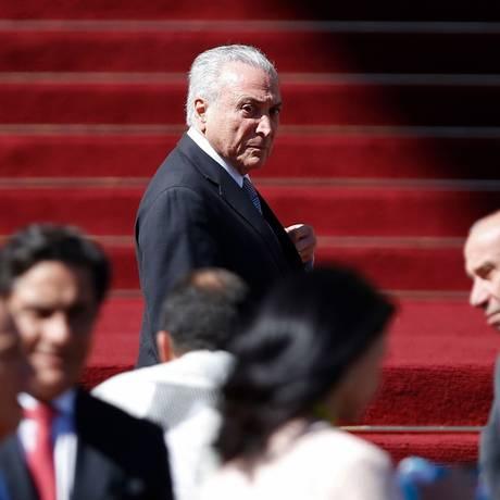 O presidente Michel Temer durante a posse de Piñera Foto: PABLO VERA LISPERGUER / AFP