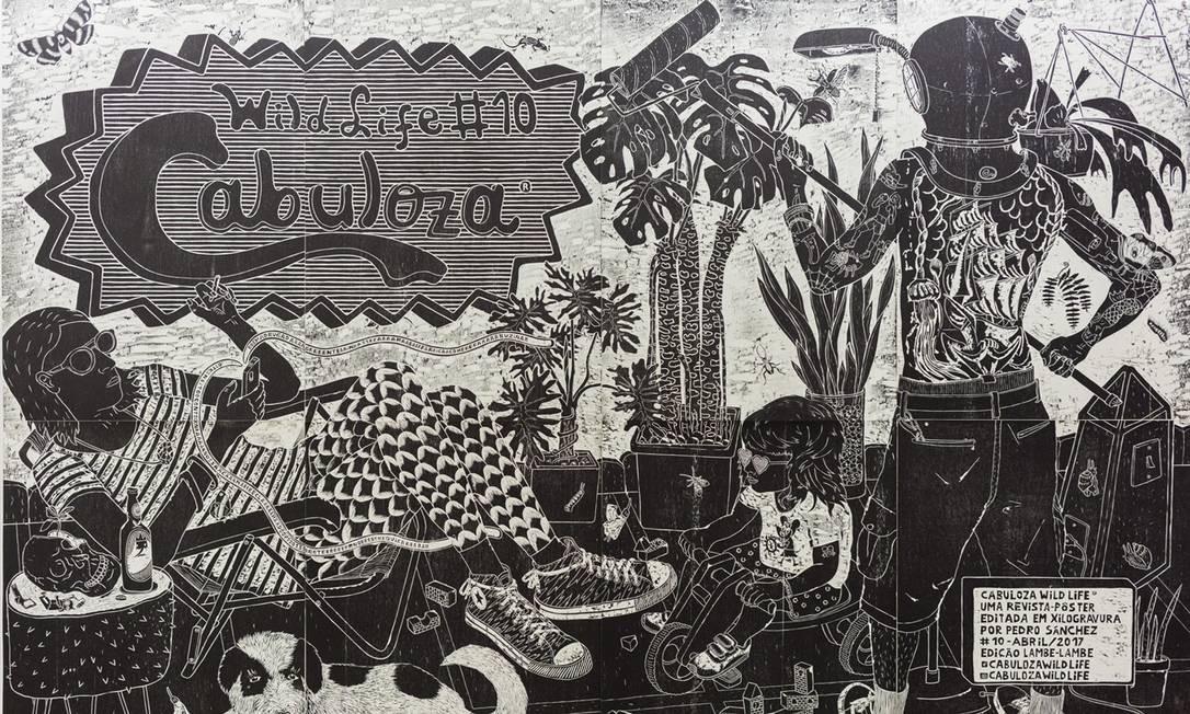"""A obra """"Cabuloza"""" (2017), revista-pôster editada em oito xilogravuras pelo professor e artista plástico Pedro Sánchez é um dos destaques. Divulgação"""