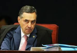 O ministro Luís Roberto Barroso, durante sessão da Primeira Turma do Supremo Tribunal Federal Foto: Givaldo Barbosa/Agência O Globo/06-03-2018