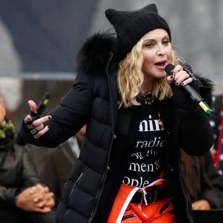 Madonna na Marcha das Mulheres em Washington Foto: SHANNON STAPLETON / Reuters