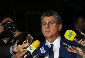 O senador Romero Jucá (PMDB-RR), durante entrevista Foto: Ailton de Freitas / Agência O Globo