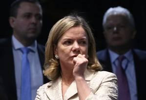 A senadora Gleisi Hoffmann (PT-PR), no plenário do Senado Foto: Ailton de Freitas / Agência O Globo
