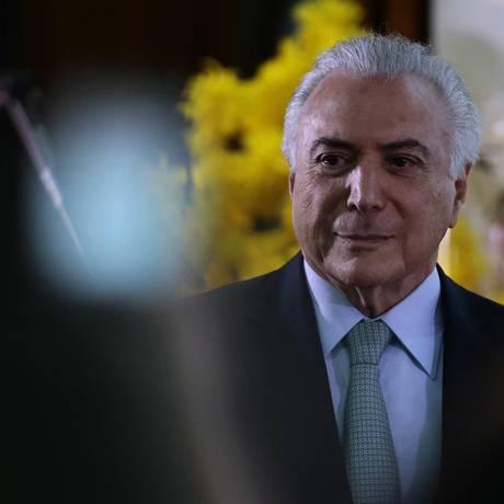 O presidente Michel Temer Foto: Jorge William / Agência O Globo/8-3-18