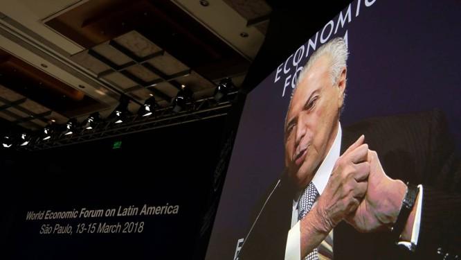 O presidente Michel Temer no Fórum Econômico Mundial, em São Paulo Foto: Paulo Whitaker / Reuters