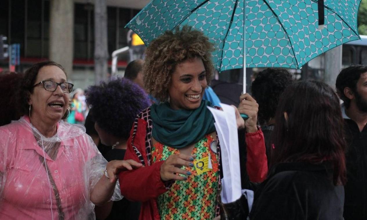 Marielle participou de caminhada na Central do Brasil no Dia Internacional da Mulher Foto: Divulgação/PSOL