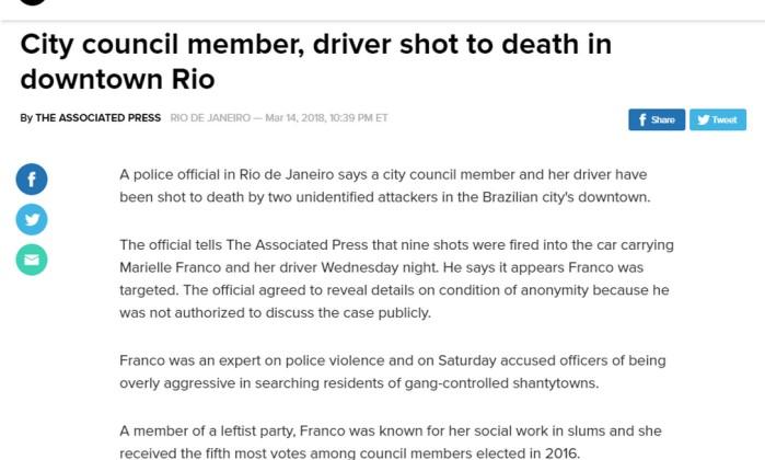 Manifestantes tomam as ruas do Rio em protesto pelo assassinato de Marielle