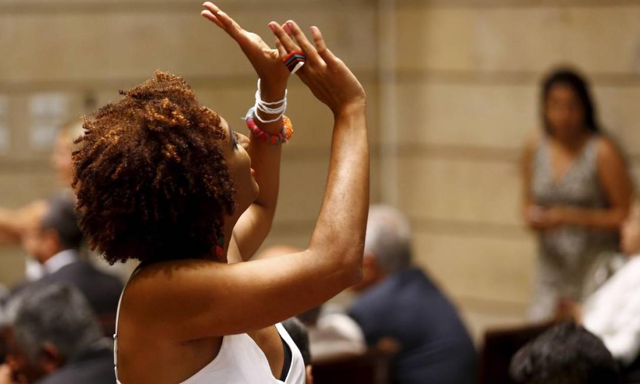 Representando as bandeiras do feminismo e dos direitos humanos, Marielle Franco levou para o debate eleitoral a defesa dos moradores de favelas Foto: Pablo Jacob / Agência O Globo