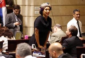 A vereadora Marielle Franco, do PSOL, durante sessão na Câmara Municipal Foto: Marcos de Paula / Agência O Globo