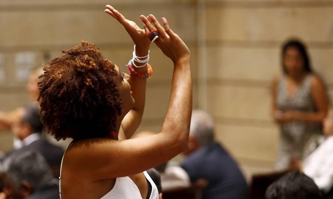 A vereadora Marielle Franco na Câmara em 01/01/2017 Foto: Pablo Jacob / Agência O Globo