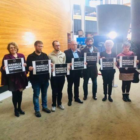Representantes do Parlamento Europeu se manifestaram após o assassinato de Marielle Franco Foto: Twitter/Reprodução