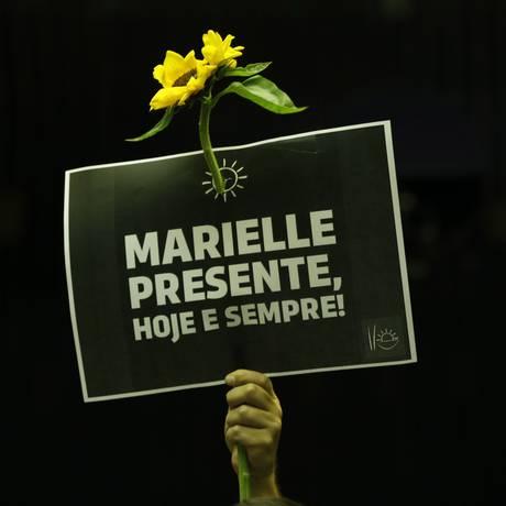 Homenagem a vereadora Marielle Franco, assassinada no Rio Foto: Michel Filho / Agência O Globo