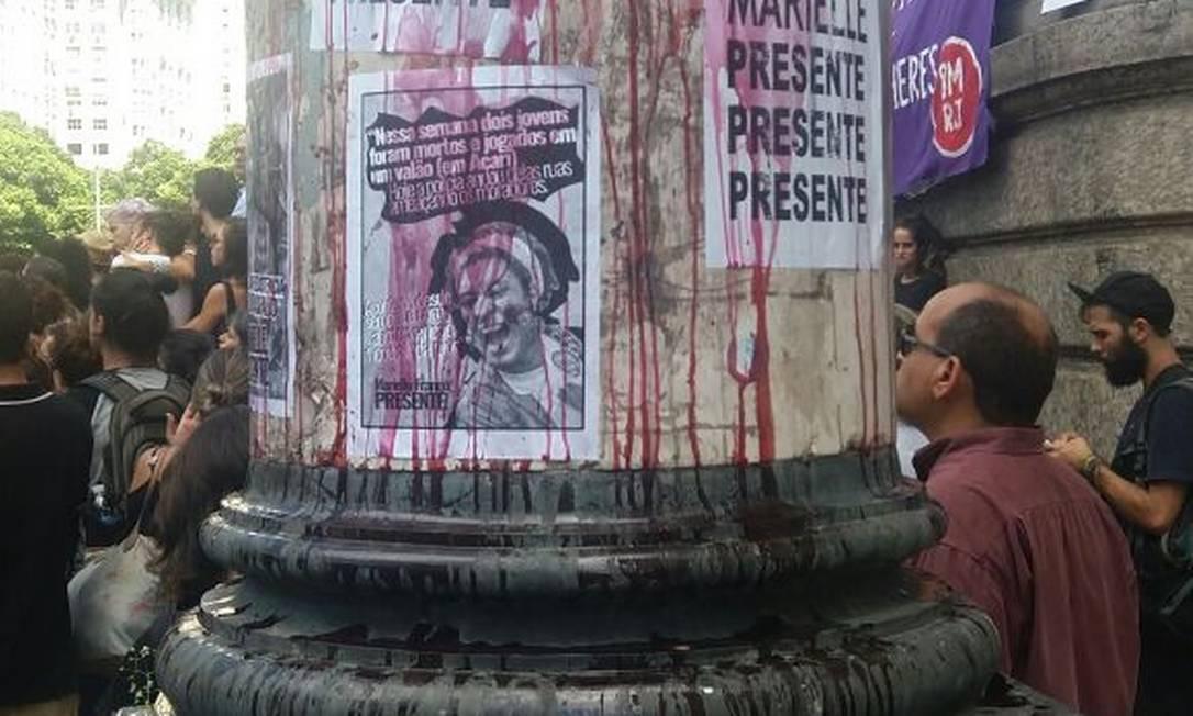 Grupos fazem protesto pela morte de Marielle Franco Foto: Fábio Teixeira / Agência O Globo