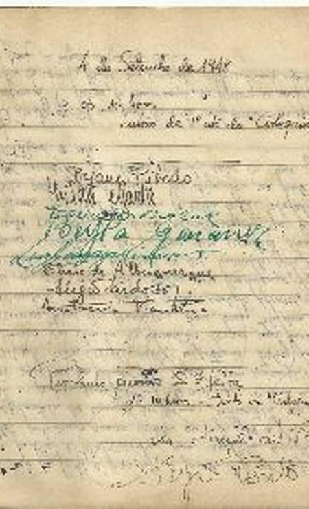 Folha de ponto dos ensaios do espetáculo 'Arlequim' (1948), com assinaturas como as de Sergio Britto e Sérgio Cardoso Foto: Acervo Sergio Britto - Cedoc Funarte