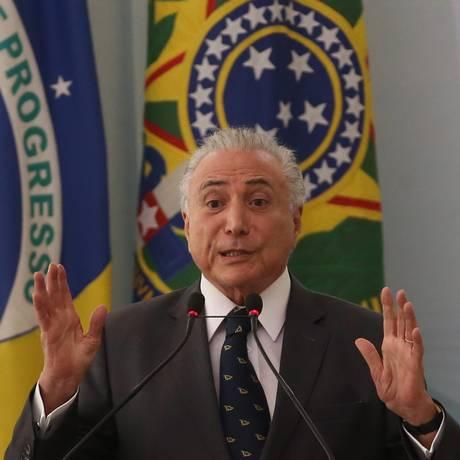 O presidente Michel Temer durante seu discurso no Palácio do Planalto 15-03-2018 Foto: Ailton de Freitas / Agência O Globo