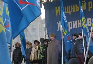 Vladimir Jirinovsky: candidato ultranacionalista atraiu pouco mais de mil pessoas à Praça Pushkinskaya, em Moscou Foto: Bernardo Mello