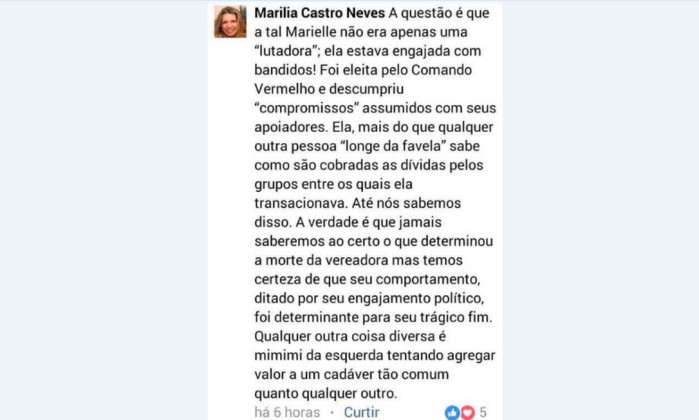 'Ela estava engajada com bandidos', diz desembargadora do RJ sobre Marielle