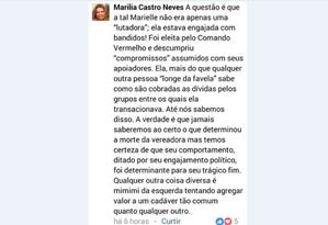 Post de desembargadora sobre morte de Marielle Franco Foto: Reprodução