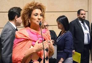Vereadora Marielle Franco (PSOL) no plenário da Câmara Foto: Renan Olaz / Divulgação / CMRJ