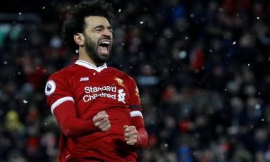 Ao marcar quatro vezes contra o Warford, Salah tornou-se artilheiro isolado da Liga Inglesa, com 28 gols Foto: PHIL NOBLE / REUTERS
