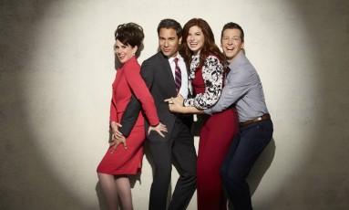 A partir da esquerda, Megan Mullally (Karen), Eric McCormack (Will), Debra Messing (Grace) e Sean Hayes (Jack) Foto: Divulgação/Andrew Eccles/NBC
