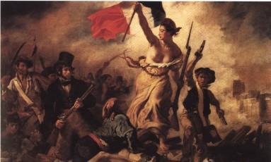 """O quadro """"La Liberté guidant le peuple"""" (1830), de Eugene Delacroix, em exposição no Museu do Louvre, em Paris Foto: Reprodução"""
