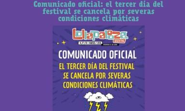 Comunicado na página do evento na Argentina Foto: Reprodução