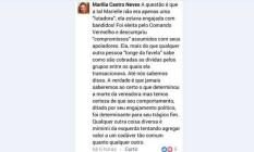 Post de desembargadora que criticou a vereadora Marielle Franco Foto: Reprodução