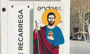 Messi vira santo em ponto turístico em Barcelona Foto: Reprodução