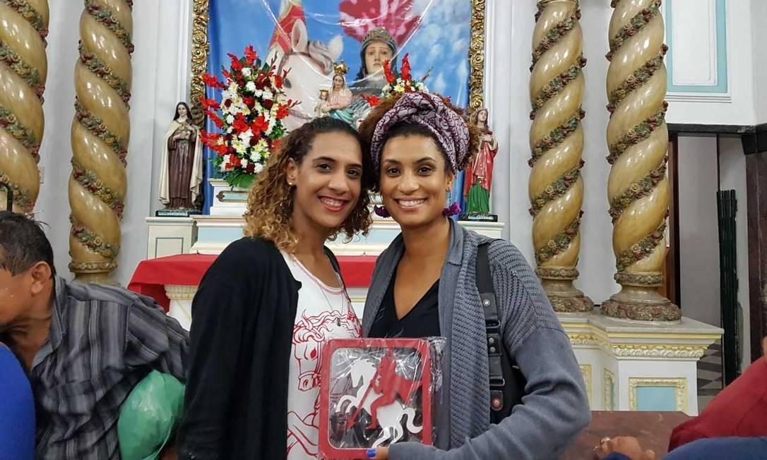 Anielle e Marielle na Igreja de São Jorge ano passado Foto: Reprodução