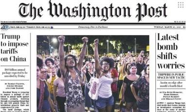 Primeira página do The Washington Post destaca Marielle Foto: Reprodução
